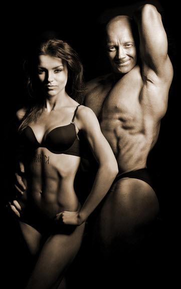 male and female bodybuiders
